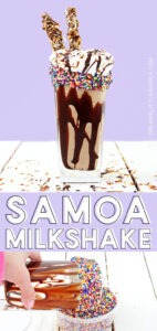 This Girl Scout cookie favorite inspiredSamoa Milkshake is creamy, dreamy and packed full of yummy chocolate, caramel, and toasted coconut.