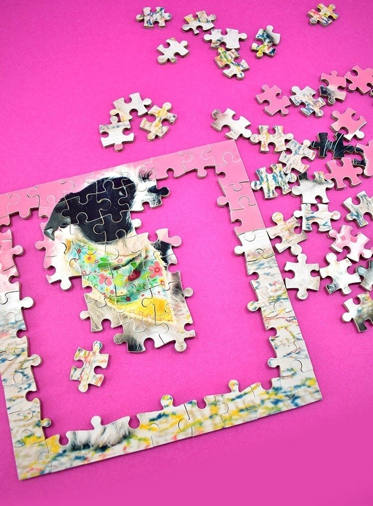 Looking for an amazing gift or keepsake? This DIY double-sided puzzle is it! With 90 pieces of 2 images, it's a little difficult without being ridiculous!