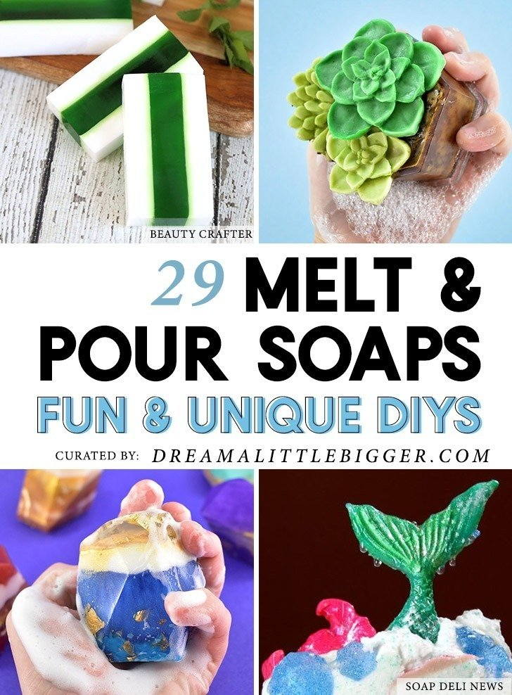 Check out these gorgeous, unique and colorful melt and pour soaps that even a beginner can make with these 29 easy to follow tutorials!