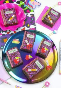 Cute and edible back to school brownies shaped like a notebook by Bright and Bubbly.