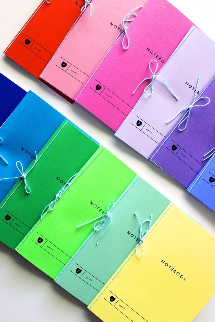 How to make a rainbow of notebooks with tutorial by Poppytalk.