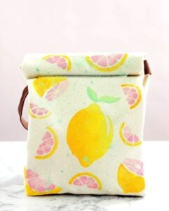 This lunch bag features lemons and is a super simple DIY Project with fabric paint.