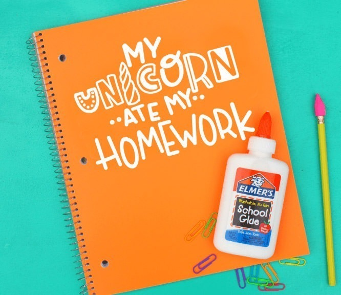 Fun free SVG file for this adorable my unicorn ate my homework notebook, (cute on a tee, too)!