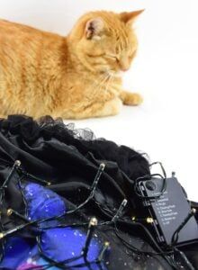 As you near the end of the lights, make sure that your battery pack will reach the elastic waistband of your skirt.