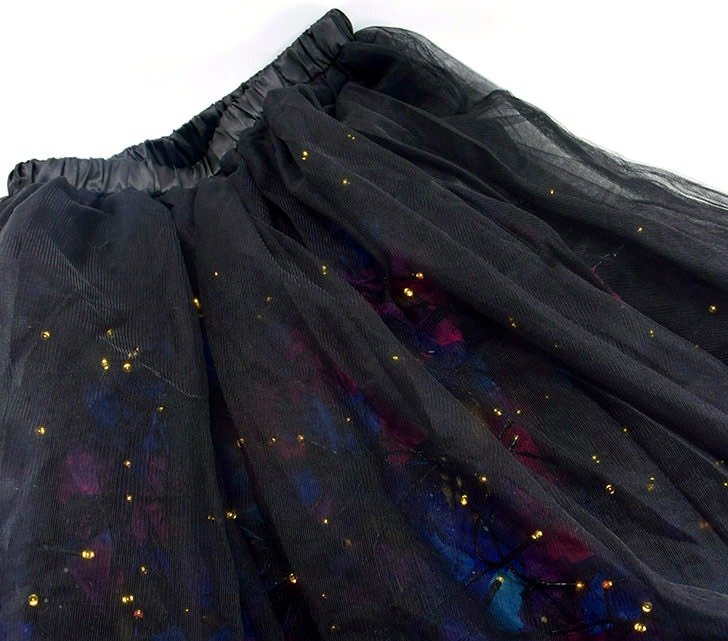 It is a good idea to test your battery LED operated lights to ensure they are functional before attaching to your galaxy skirt.