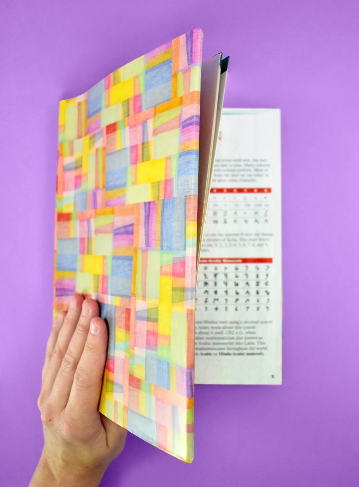 With the cover in place, gently close the book for the first time to ensure that nothing is on too tightly. If the paper feels like it will rip or if it is slack and hanging off, adjust the fit accordingly.