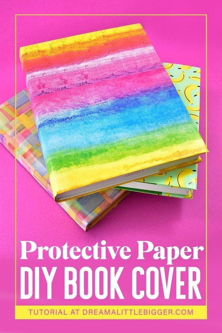 Looking to protect a textbook? This paper book cover DIY is super easy to make and can be made with paper bags or gift wrap!