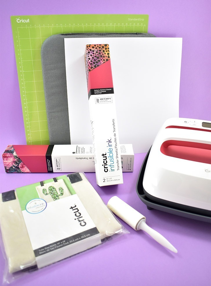 Supplies needed to make a Cricut Infusible Ink tote bag.