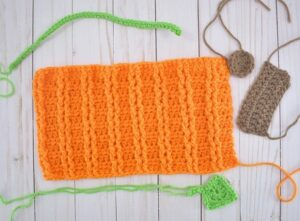 Crochet elements you'll hook up to make one of 4 different crochet pumpkins.
