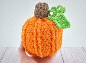 One crochet pumpkin done!