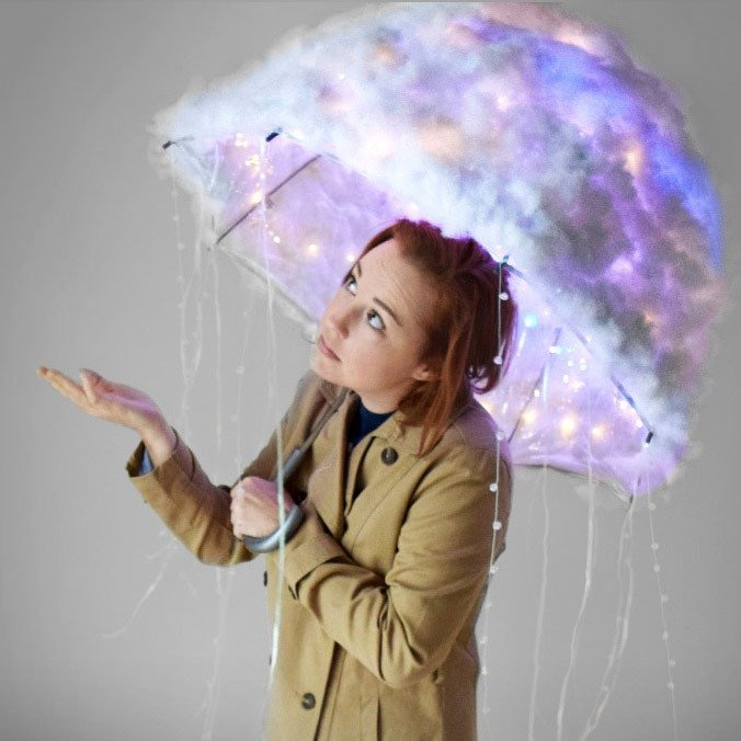 This DIY storm cloud costume is so fun for Halloween night, complete with flashing lightning!