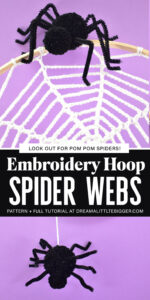 Turn embroidery hoops into adorable Halloween decor by adding crochet spider webs to them. Add in some pompom spiders and it's almost too cute!