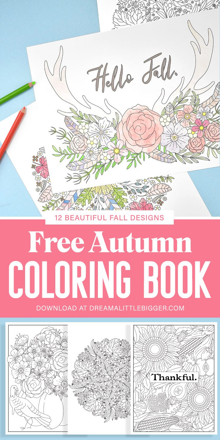 Grab this free coloring book full of amazingly Autumn themed fall coloring pages, 12 designs in total, that feature feathers, acorns, flowers & leaves.