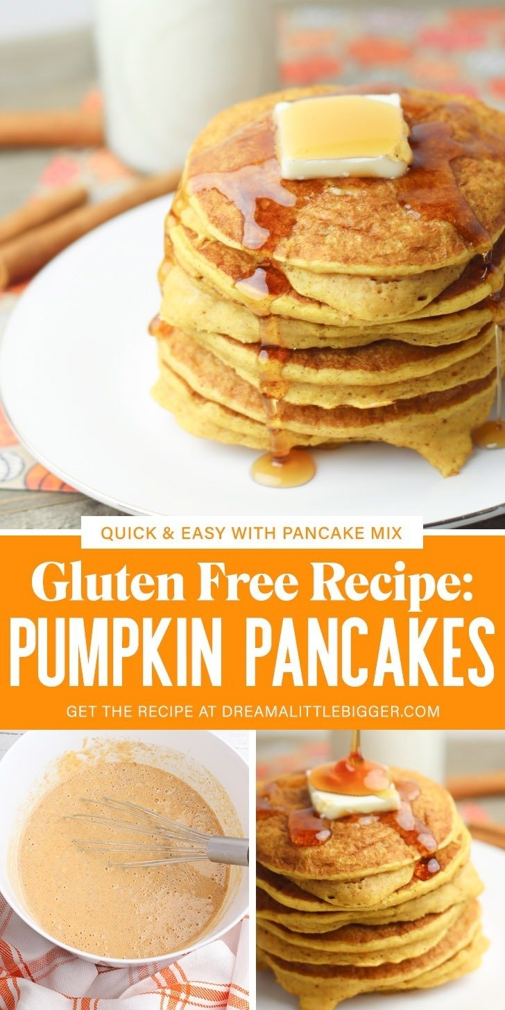 Using pancake mix, these gluten free pumpkin pancakes aren't just amazing, they're also quick and easy! Get the recipe to make them.