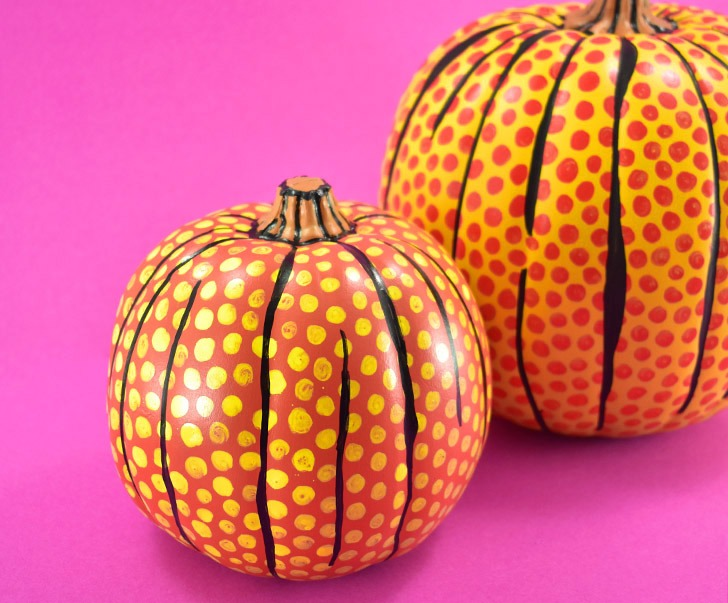 These DIY pop art pumpkins are a neat homage to Lichtenstein and will be the envy of all of your Halloween party guests!