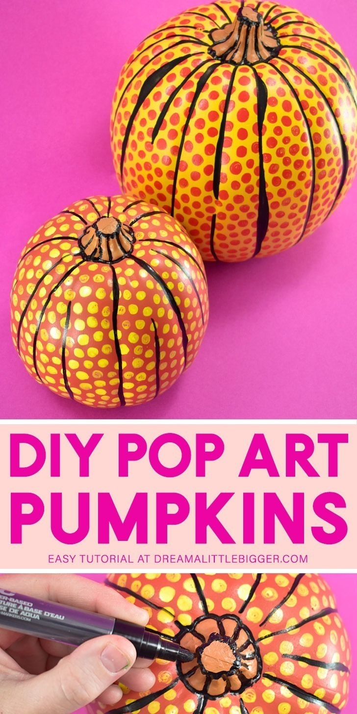 Love pop art? These DIY pop art pumpkins inspired by the art of Roy Lichtenstein are just for you. Learn how to make your own...