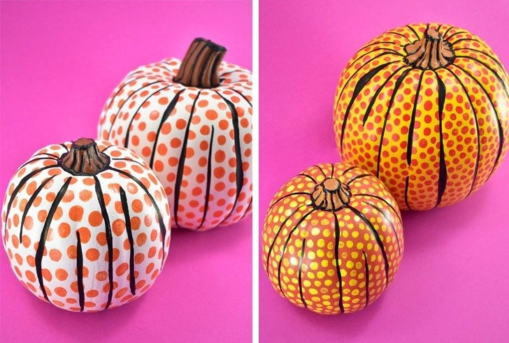 Two variations of the DIY Lichtenstein Pop Art Pumpkins...
