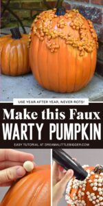 Make this faux warty pumpkin with easy to follow photo instruction. You won't believe how easy it is to turn a fake pumpkin into a knucklehead pumpkin!