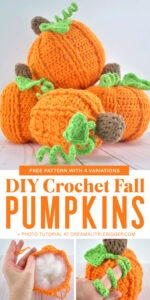 Whip up some adorable crochet pumpkins with this free pattern with FOUR different variations! Easy to follow photo tutorial for assembly, too!