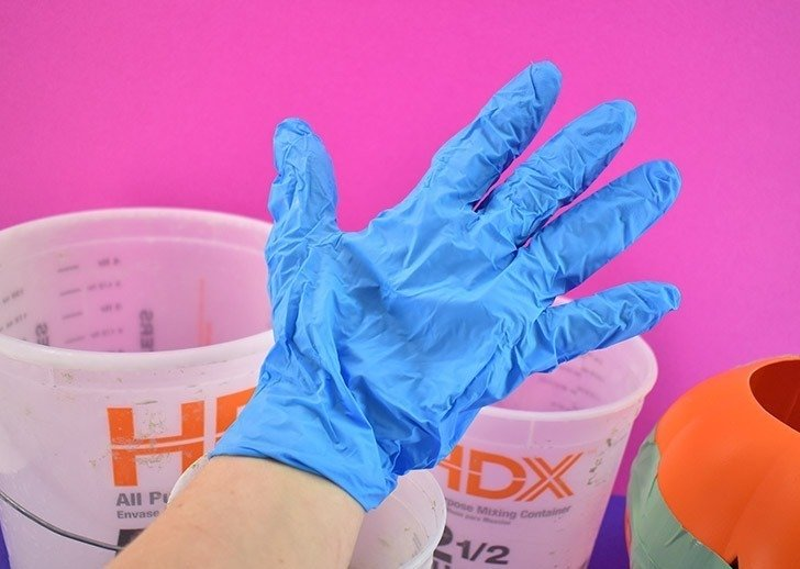 Wear protective gloves when working with wet cement.