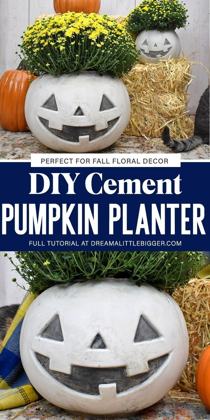 Turn a trick or treat pumpkin pail into an amazing cement pumpkin planter. The Jack side is perfect for Halloween and the pumpkin works for all of Autumn!