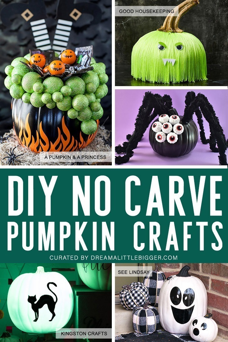 No carve, no problem? Check out 46 amazing no carve pumpkin projects that kids will love from Disney inspired, to painted, to just plain cute.