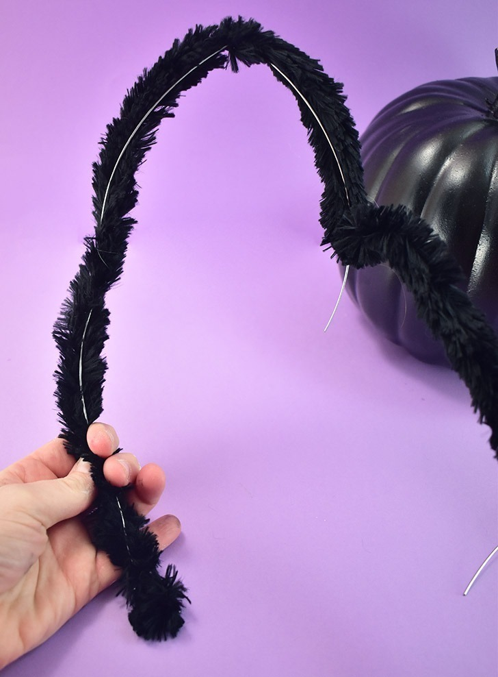 Wrap a large black pipe cleaner around each leg.