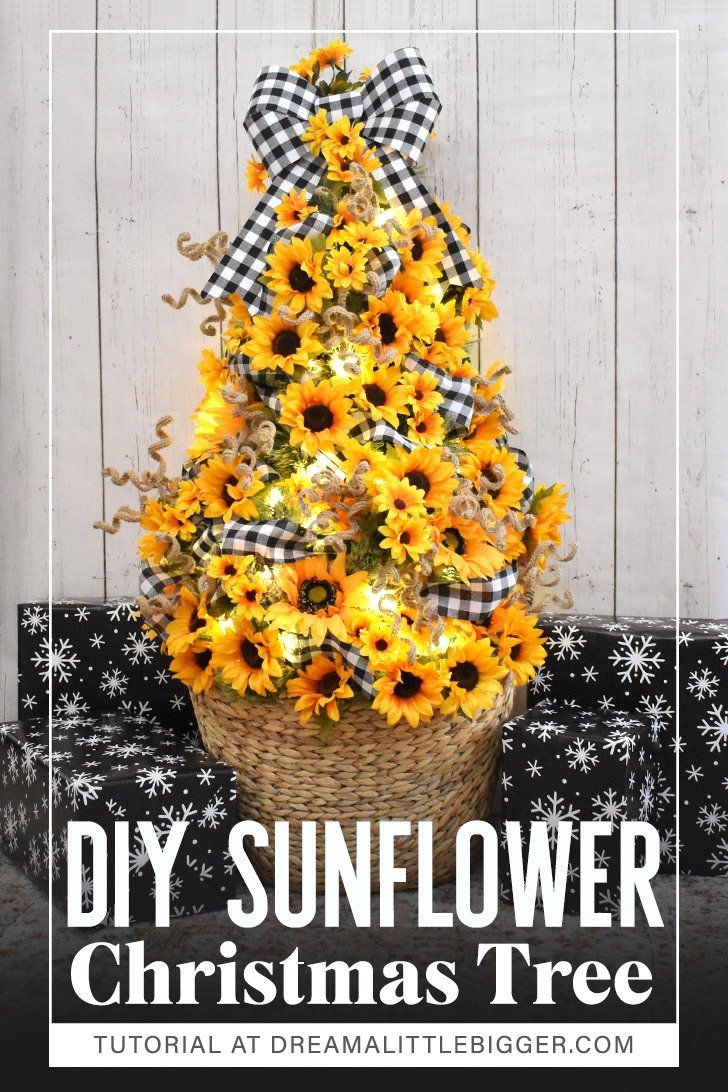 Looking for a happy non-traditional Christmas tree? Love flowers? This DIY Sunflower Christmas Tree is gorgeously cheerful and maybe a little bit country!