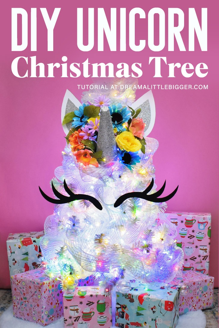 This magical DIY Unicorn Christmas Tree is gorgeous and so simple to create. Make a custom unicorn tree topper and see how we dressed ours!