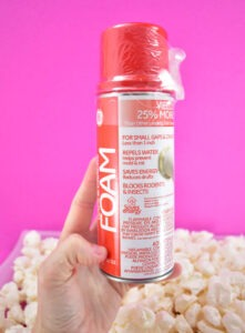 One can of insulation foam makes a ton of fake popcorn!