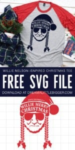 Love Willie? Who doesn't?!? Grab the free SVG file to make your own Willie Nelson Christmas tee. Have Yourself a Willie Merry Christmas!