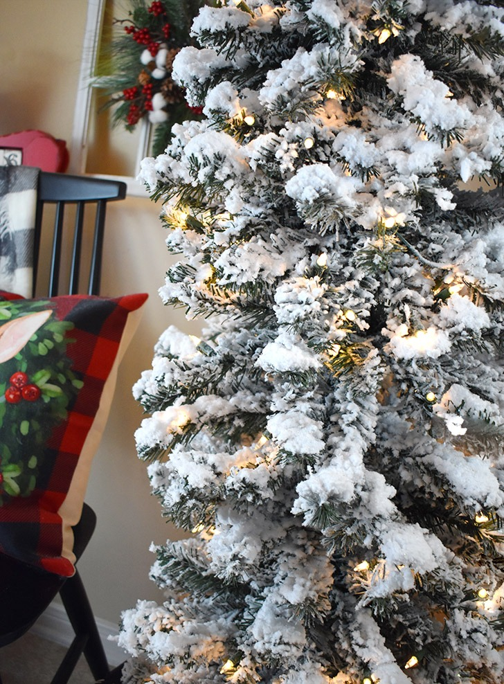 MY DIY flocked Christmas tree is fuller and lighter in color which will work better with the decorations I intend to use on it.