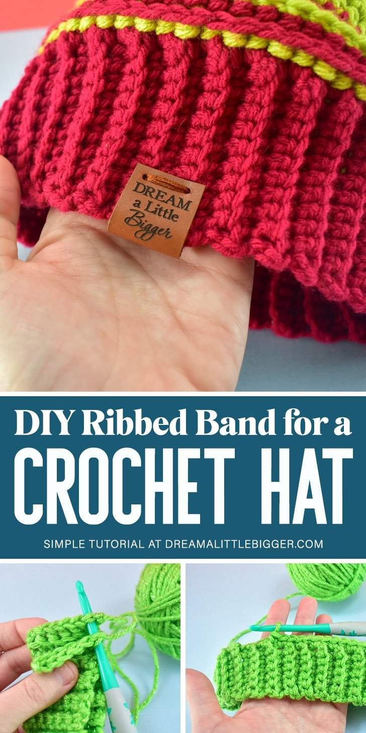 Adding a textured and stretchy crocheted ribbing to your DIY hats is super simple with this easily modifiable crochet ribbing for hats pattern.