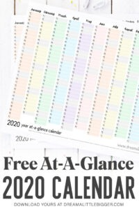 """Plan your whole year on a single page with this FREE printable 2020 at-a-glace calendar. Print it at 18"""" x 24"""" or smaller & get organized this year!"""