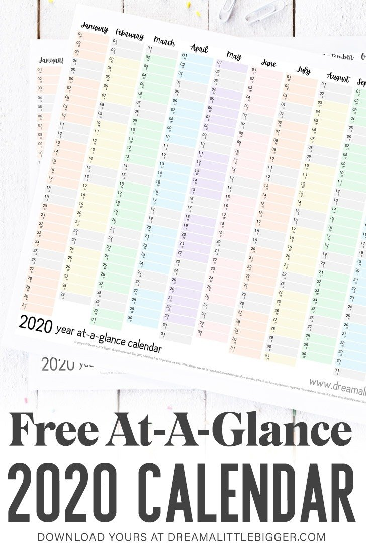"Plan your whole year on a single page with this FREE printable 2020 at-a-glace calendar. Print it at 18"" x 24"" or smaller & get organized this year!"
