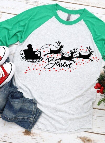 Do you believe? If so I bet you're going to love this Believe Christmas SVG. Grab the file and make your own DIY Christmas shirt today!