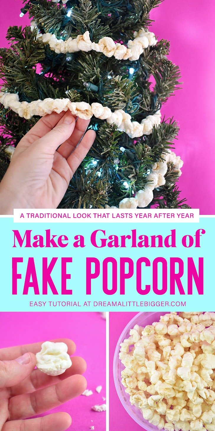 A surprising supply from the hardware store makes the most perfect fake popcorn garland. DIY a little bit of tradition that will last for years!