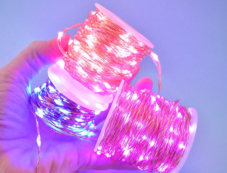 The LED lights I have used and linked to in this post are wire strung LEDs that come on a spool.