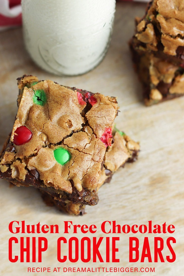 These chocolate chip cookie bars are so easy to make and are gluten free! Get the recipe that you can whip up and share for the holidays!