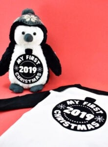 Grab this free annual Christmas SVG file and use it to make the cutest tee shirt and plush toy gift sets and learn how to apply HTV on a stuffed animal.