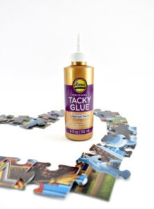 Aleene's Tacky Glue is PERFECT to make a jigsaw puzzle heart wreath!