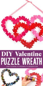 When you put the pieces together you can make the most fun and gorgeous jigsaw puzzle heart wreath. It's perfect, inexpensive decor for Valentine's Day!