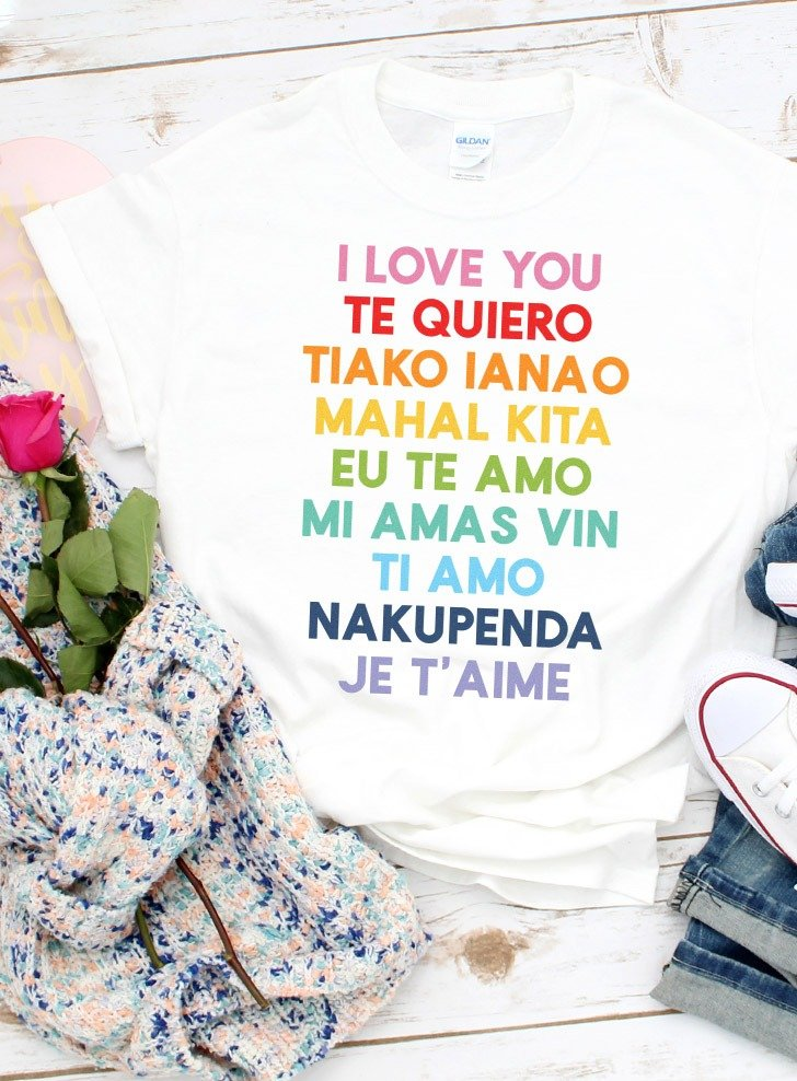 Ever wonder how to say I love you in different languages? You'll definitely want to grab this FREE I love you Valentine SVG File in 9 languages!
