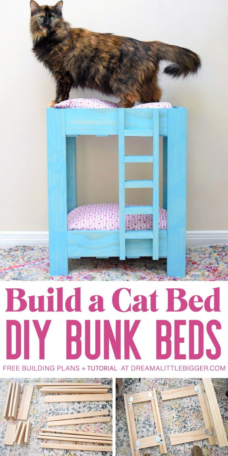 You have NEVER seen a pet bed as adorable as these amazing cat bunk beds! So perfect if you have 2 cats and crazy cute! Build one with the free plans!