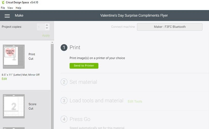 Design Space will now prompt you to print your Valentine's Day Surprise Compliments wording to be cut.