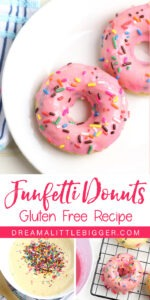 So festive and so tasty! Everybody will love these gluten free Funfetti donuts and most won't even realize they're gluten free!