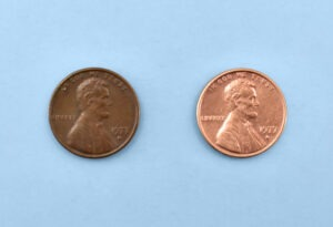 How to clean pennies with ketchup, the before and after.