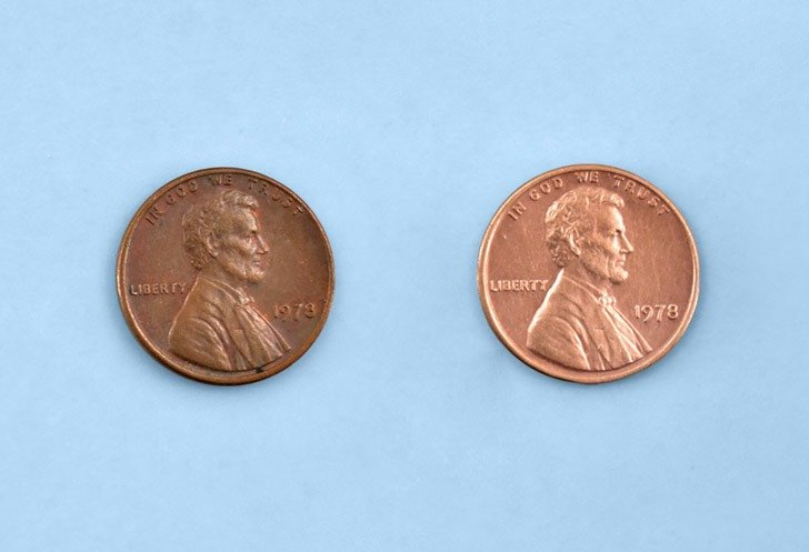 How to clean pennies with Brasso, the before and after.