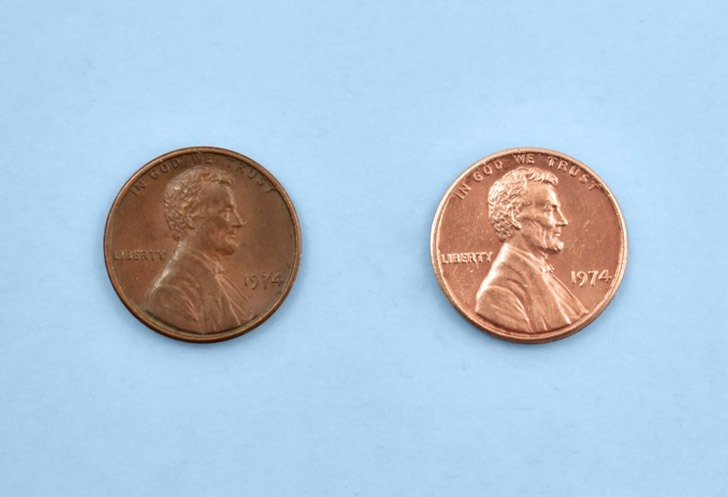 How to clean pennies with soda and salt, the before and after.