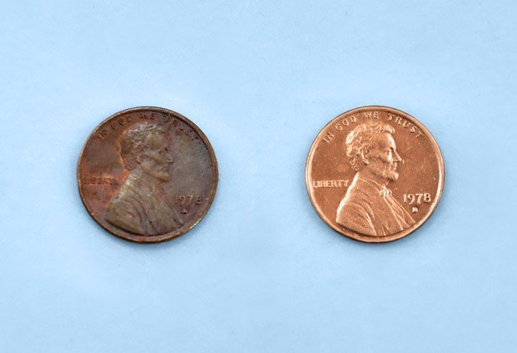 How to clean pennies with an lemon juice and baking soda, the before and after.